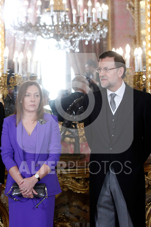Elvira Fernandez and Prime Minister of Spain Mariano Rajoy attends the reception of the diplomatic corps in Spain at Palacio Real. January 23, 2013. (ALTERPHOTOS/Caro Marin)
