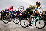 Wout Van Aert (BEL) Team Jumbo-Visma with ripped shorts after crashing and Sep Vanmarcke (BEL) EF Education First during the 117th edition of Paris-Roubaix 2019, running 257km from Compiegne to Roubaix, France. 14th April 2019<br /> Picture: ASO/Pauline Ballet | Cyclefile<br /> All photos usage must carry mandatory copyright credit (&copy; Cyclefile | ASO/Pauline Ballet)