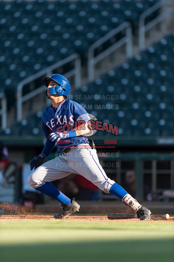AZL Rangers third baseman Jonathan Ornelas (10) starts down the first base line during an Arizona League playoff game against the AZL Indians 1 at Goodyear Ballpark on August 28, 2018 in Goodyear, Arizona. The AZL Rangers defeated the AZL Indians 1 7-4. (Zachary Lucy/Four Seam Images)