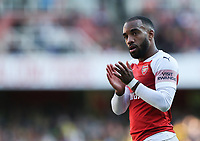 Alexandre Lacazette of Arsenal acknowledges the chants of the fans <br /> Londra 29-09-2018 Premier League <br /> Arsenal - Watford <br /> Foto PHC Images / Panoramic / Insidefoto <br /> ITALY ONLY
