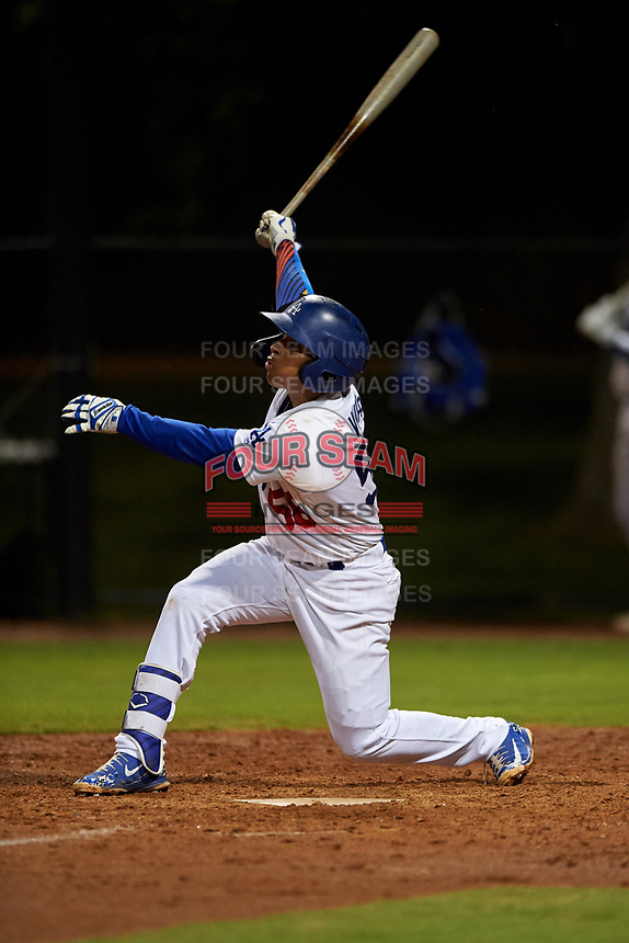 AZL Dodgers Lasorda Jorbit Vivas (56) at bat during an Arizona League game against the AZL Athletics Green at Camelback Ranch on June 19, 2019 in Glendale, Arizona. AZL Dodgers Lasorda defeated AZL Athletics Green 9-5. (Zachary Lucy/Four Seam Images)