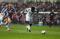 Sunday, 26 April 2014<br /> Pictured: Wilfried Bony of Swansea scoring his opening goal.<br /> Re: Barclay's Premier League, Swansea City FC v Aston Villa at the Liberty Stadium, south Wales.