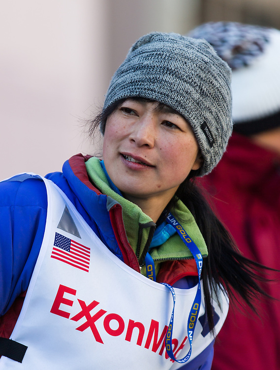 Musher Yuka Honda at the ceremenial start of the 43rd Annual Iditarod in Anchorage, Alaska. The 1000 mile dog sled race usually restarts in Willow, Alaska, and finishes in Nome. Poor snowfall, however, forced the restart north to Fairbanks.