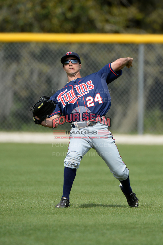 Minnesota Twins outfielder Zach Granite (24) during practice before a minor league spring training game against the Baltimore Orioles on March 20, 2014 at the Buck O'Neil Complex in Sarasota, Florida.  (Mike Janes/Four Seam Images)