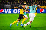 05.11.2019, Signal Iduna Park, Dortmund , GER, Champions League, Gruppenphase, Borussia Dortmund vs Inter Mailand, UEFA REGULATIONS PROHIBIT ANY USE OF PHOTOGRAPHS AS IMAGE SEQUENCES AND/OR QUASI-VIDEO<br /> <br /> im Bild | picture shows:<br /> Duell zwischen Jadon Sancho (Borussia Dortmund #7) und Lorenzo Pirola (Inter #31), <br /> <br /> Foto © nordphoto / Rauch