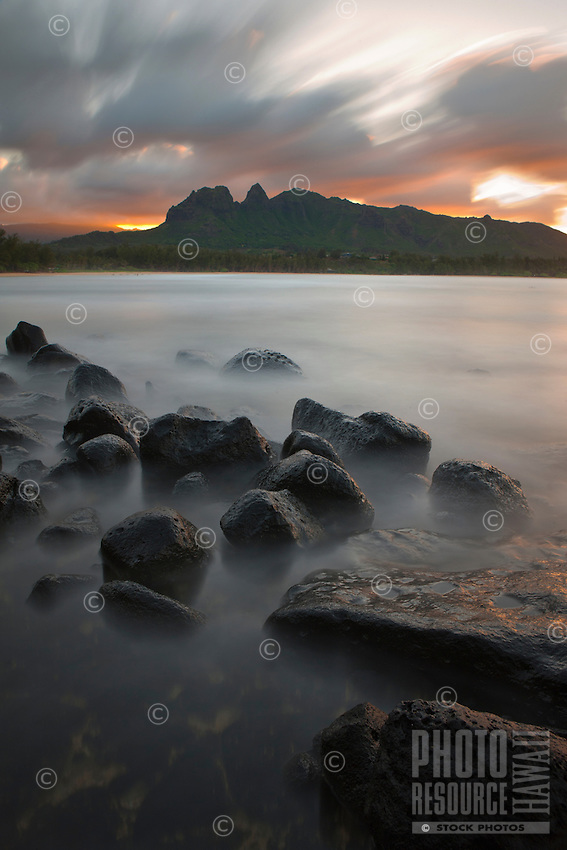 Sunset at Anahola Bay on Kauai's east side