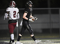 NWA Democrat-Gazette/CHARLIE KAIJO Bentonville wide receiver Trenton Kolb (21) carries the ball for a score, Friday, November 1, 2019 during a football game at Bentonville High School in Bentonville.