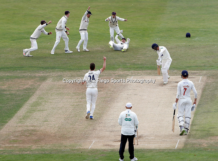Sam Billings (wicket keeper) of Kent celebrates after catching the wicket of Ruaidhri Smith off the bowling of Matt Henry during the Specsavers County Championship division two game between Kent and Glamorgan (day 3) at the St Lawrence Ground, Canterbury, on Sept 20, 2018