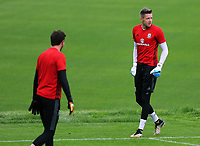 Wayne Hennesey (R) warms up during the Wales Training Session at the Vale Resort, Hensol, Wales, UK. Tuesday 29 August 2017