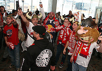 Red Bull fans at the 2011 MLS Superdraft, in Baltimore, Maryland on January 13, 2010.