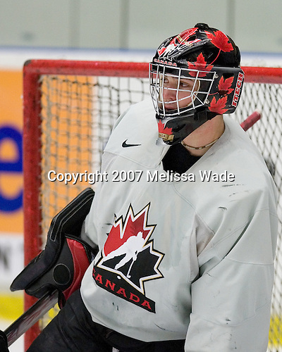 Carey Price (Anahim Lake, British Columbia - Tri-City Americans) participates in Canada's practice on Tuesday, January 2, 2007, at Ejendals Arena in Leksand, Sweden during the 2007 World Junior Championship.  Team Canada would go on to win the Gold on January 5, 2007 and Price would win tournament MVP.<br />