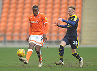 Blackpool's Donervon Daniels under pressure from Oxford United's Mark Sykes<br /> <br /> Photographer Kevin Barnes/CameraSport<br /> <br /> The EFL Sky Bet League One - Blackpool v Oxford United - Saturday 23rd February 2019 - Bloomfield Road - Blackpool<br /> <br /> World Copyright © 2019 CameraSport. All rights reserved. 43 Linden Ave. Countesthorpe. Leicester. England. LE8 5PG - Tel: +44 (0) 116 277 4147 - admin@camerasport.com - www.camerasport.com