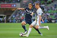 Melbourne, 11 November 2018 &ndash;  Keisuke Honda of Melbourne Victory<br /> in action in the round four match of the A-League between Melbourne Victory and Central Coast Mariners at AAMI Park, Melbourne, Australia.