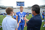 Freshman quarterback Patrick Towles is interviewed at UK Football Media Day on Friday, August 3, 2012. Photo by Mike Weaver| Staff