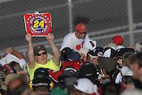 Apr 29, 2007; Talladega, AL, USA; A fan of Nascar Nextel Cup Series driver Jeff Gordon (24) celebrates after Gordon won the Aarons 499 at Talladega Superspeedway. Mandatory Credit: Mark J. Rebilas