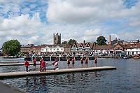 Henley-on-Thames. United Kingdom.  Ohio State University, boating for their heat in the Remenham hallenge Club. 2017 Henley Royal Regatta, Henley Reach, River Thames. <br /> <br /> <br /> 10:34:30  Friday  30/06/2017   <br /> <br /> [Mandatory Credit. Peter SPURRIER/Intersport Images.