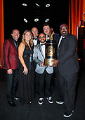 funny car, Camry, J.R. Todd, DHL, celebration, world champion, trophy, awards banquet, Toyota, staff