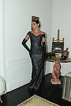 Marianna poses in a charcoal sliver brocade off the shoulder column gown, from the Barbara Tfank Fall Winter 2019 collection on February 13, 2019 at The Elizabeth Collective during New York Fashion Week.