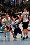 09.11.2019, Hansehalle Luebeck, GER,  2.Bundesliga Handball VfL Luebeck-Schwartau - TV Emsdetten<br /> <br /> im Bild / picture shows<br /> Janik Schrader VfL Luebeck-Schwartau setzt sich gegen Marcel Schliedermann (TV Emsdetten) und Jan Mojzis (TV Emsdetten) durch.<br /> <br /> Foto © nordphoto / Tauchnitz