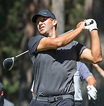 Tony Romo hits a tee shot on the fourth hole during the American Century Championship at Edgewood Tahoe Golf Course in Stateline, Nevada, Saturday, July 14, 2018.