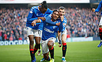 01.12.2019 Rangers v Hearts: Alfredo Morelos celebrates his goal with Borna Barisic and Joe Aribo