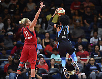 Washington, DC - June 1, 2019: Atlanta Dream guard Brittney Sykes (7) defended by Washington Mystics forward Elena Delle Donne (11) during game between Atlanta Dream and Washington Mystics at the St. Elizabeths East Entertainment and Sports Arena (Photo by Phil Peters/Media Images International)
