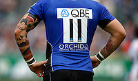 Photo: Richard Lane/Richard Lane Photography. Bath Rugby v Biarritz Olympique. Heineken Cup. 10/10/2010. Bath's Matt Banahan with tattoos.