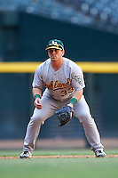 Oakland Athletics Jarrett Costa (33) during an Instructional League game against the Arizona Diamondbacks on October 15, 2016 at Chase Field in Phoenix, Arizona.  (Mike Janes/Four Seam Images)