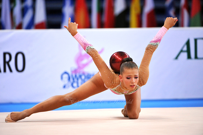 Daria Dmitrieva of Russia performs with ball at 2010 Pesaro World Cup on August 29, 2010 at Pesaro, Italy.  Photo by Tom Theobald.
