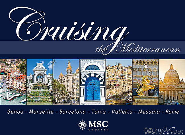 Cruising the Mediterrannean:  Genoa, Marseille, Barcelona, Tunis, Valletta  Messina, Rome - Souvenir pictorial book, 80 pages, hard cover with full colour images that sell onboard vessels operated by MSC Cruises and follow the specific itinerary. Text in English, Italian, French, German, Spanish.<br />