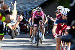 Race leader Maglia Rosa Tom Dumoulin (NED) Team Sunweb on the slopes of Oropa near the end of Stage 14 of the 100th edition of the Giro d'Italia 2017, running 131km from Castellania to Oropa, Italy. 20th May 2017.<br /> Picture: LaPresse/Fabio Ferrari | Cyclefile<br /> <br /> <br /> All photos usage must carry mandatory copyright credit (&copy; Cyclefile | LaPresse/Fabio Ferrari)