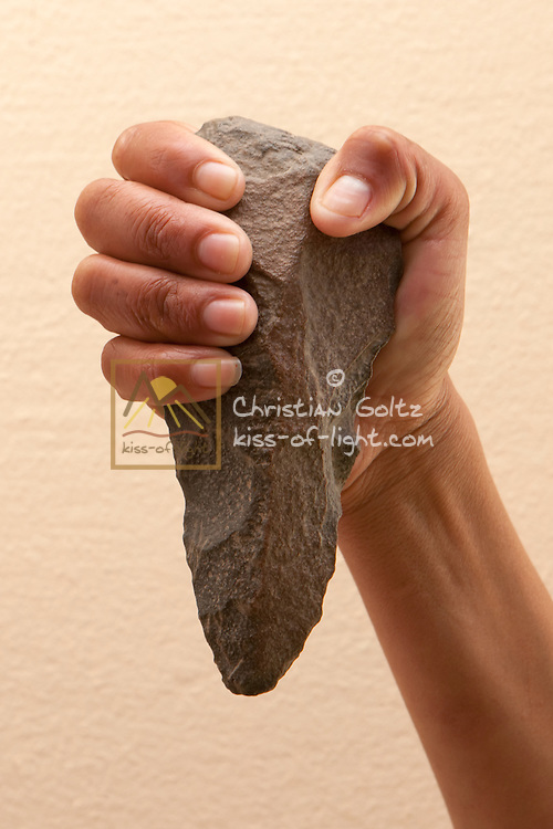 A biface (hand-axe) from the stone age as found in the Sperrgebiet National Park indicates the presence of early Khoesan people in the region.