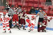 Isabel Menard (BU - 20), Bob Sloper, Kaleigh Fratkin (BU - 13), Louise Warren (BU - 28), Gary Young, Mary Restuccia (BC - 22), Tara Watchorn (BU - 27), Pat Silva, Taylor Wasylk (BC - 9) - The visiting Boston College Eagles defeated the Boston University Terriers 3-1 on Saturday, November 5, 2011, at Walter Brown Arena in Boston, Massachusetts.