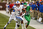 North Texas Mean Green quarterback Austin Aune (2) in action during the game between the UNT Mean Green and the SMU Mustangs at the Gerald J. Ford Stadium in Fort Worth, Texas.