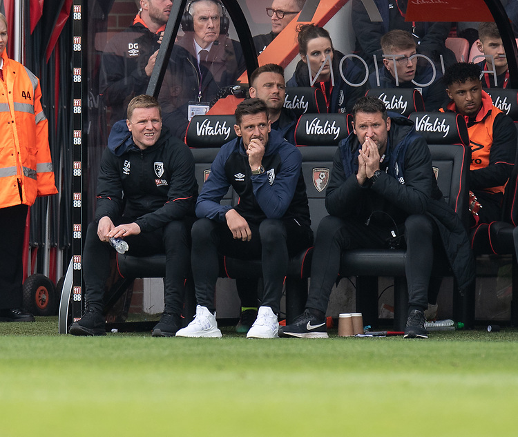 Bournemouth manager Eddie Howe (left) can only look on as the trail 3-1<br /> <br /> Photographer David Horton/CameraSport<br /> <br /> The Premier League - Bournemouth v Burnley - Saturday 6th April 2019 - Vitality Stadium - Bournemouth<br /> <br /> World Copyright © 2019 CameraSport. All rights reserved. 43 Linden Ave. Countesthorpe. Leicester. England. LE8 5PG - Tel: +44 (0) 116 277 4147 - admin@camerasport.com - www.camerasport.com