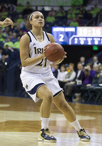November 20, 2012:  Notre Dame guard Kayla McBride (21) during NCAA Women's Basketball game action between the Notre Dame Fighting Irish and the Mercer Bears at Purcell Pavilion at the Joyce Center in South Bend, Indiana.  Notre Dame defeated Mercer 93-36.
