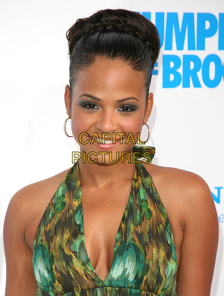 CHRISTINA MILIAN .at The Screen Gems L.A. Premiere of Jumping the Broom held at The Cinerama Dome Theatre in Hollywood, California, USA, May 4th 2011..portrait headshot hair up green print halterneck cleavage  make-up earrings  plait braid bun beauty .CAP/RKE/DVS.©DVS/RockinExposures/Capital Pictures.