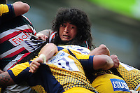 Logovi'i Mulipola of Leicester Tigers looks on during a maul. Aviva Premiership match, between Leicester Tigers and Worcester Warriors on October 8, 2016 at Welford Road in Leicester, England. Photo by: Patrick Khachfe / JMP