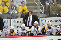 May 29, 2017: Nashville Predators head coach Peter Laviolette watches game action from the bench during game one of the National Hockey League Stanley Cup Finals between the Nashville Predators  and the Pittsburgh Penguins, held at PPG Paints Arena, in Pittsburgh, PA. Pittsburgh defeats Nashville 5-3 in regulation time.  Eric Canha/CSM