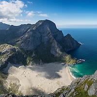 Bunes beach as viewed from Helvetestinden, Moskenesoy, Lofoten Islands, Norway