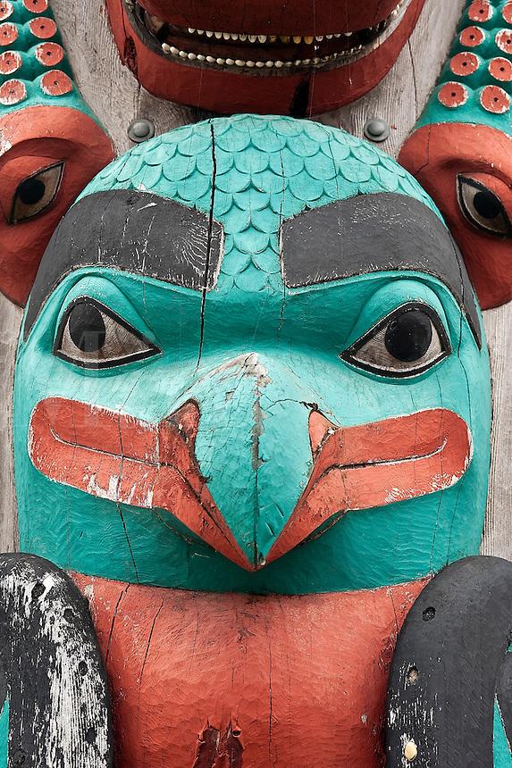 Totem pole detail, Hoonah, Alaska