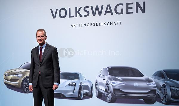 03 May 2018, Germany, Berlin: Herbert Diess, the new CEOof Volkswagen AG, at the Volkswagen AG annual general meetingat the Messegelaende in Berlin. Photo: Bernd von Jutrczenka/dpa /MediaPunch ***FOR USA ONLY***