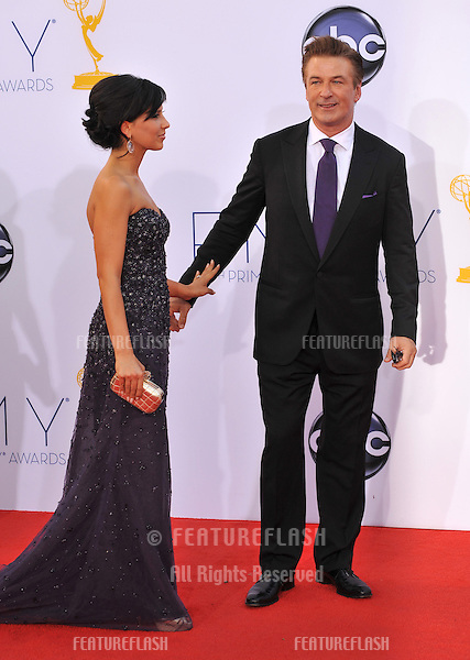 Alec Baldwin & wife Hilaria Thomas at the 64th Primetime Emmy Awards at the Nokia Theatre LA Live..September 23, 2012  Los Angeles, CA.Picture: Paul Smith / Featureflash