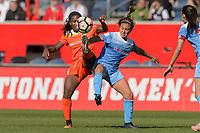 Bridgeview, IL - Saturday May 06, 2017: Nichelle Prince, Danielle Colaprico during a regular season National Women's Soccer League (NWSL) match between the Chicago Red Stars and the Houston Dash at Toyota Park. The Red Stars won 2-0.