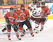 Steve Birnstill, Adam Geragosian, Louis Liotti, Dan Bertram, Josh Robertson - The Boston College Eagles defeated the Northeastern University Huskies 5-2 in the opening game of the 2006 Beanpot at TD Banknorth Garden in Boston, MA, on February 6, 2006.