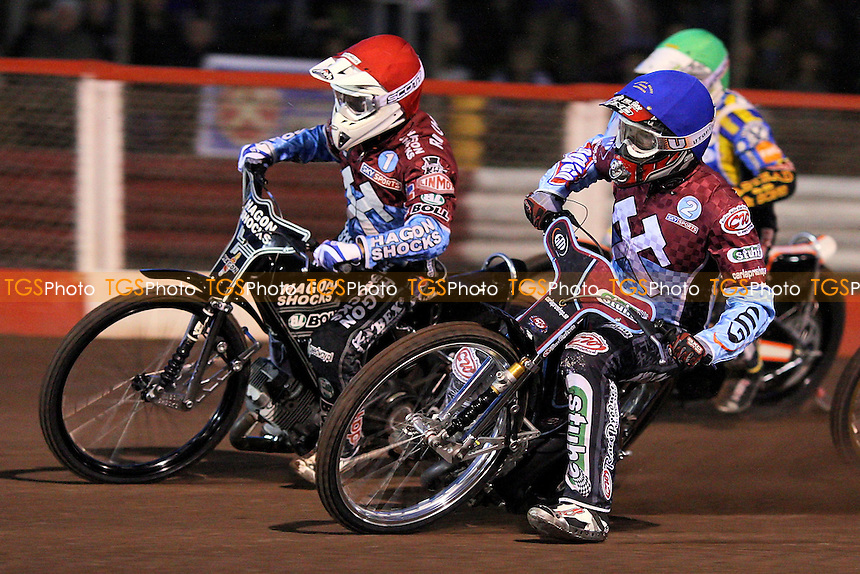 Heat 1: Lee Richardson (red) and Joonas Kylmakorpi out in front - Lakeside Hammers vs Ipswich Witches - Sky Sports Elite League Speedway at Arena Essex Raceway, Purfleet - 28 /08/09 - MANDATORY CREDIT: Gavin Ellis/TGSPHOTO - Self billing applies where appropriate - Tel: 0845 094 6026