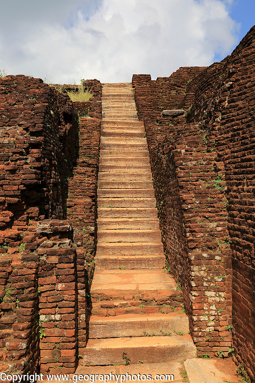 Stone staircase in the rock palace at Sigiriya, Central Province, Sri Lanka, Asia