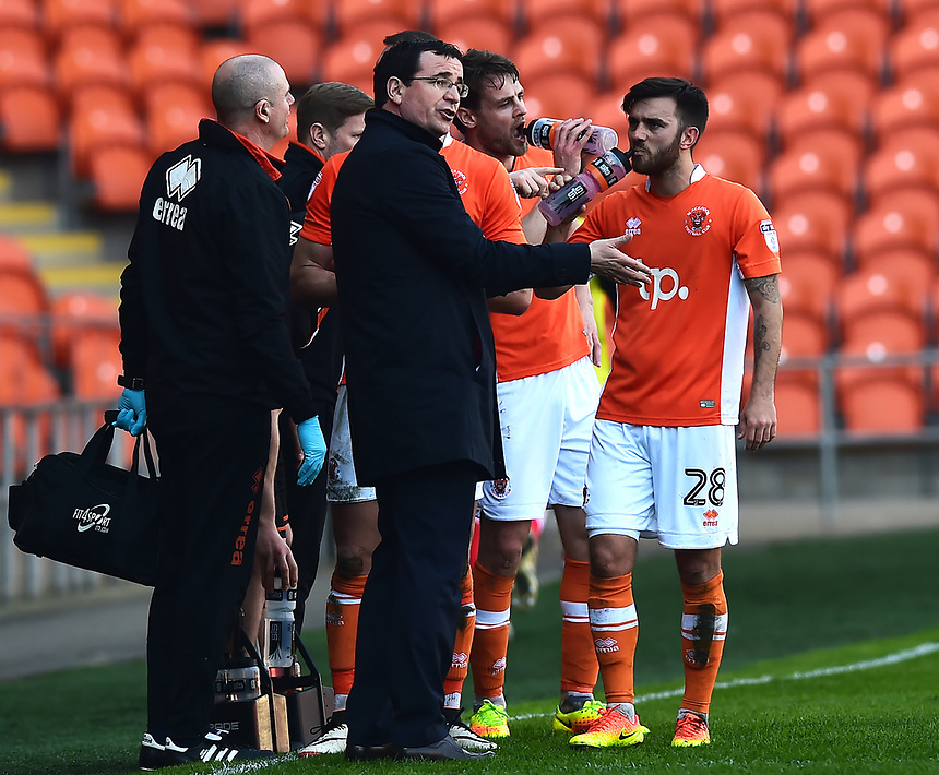 Blackpool manager Gary Bowyer gives instructions to Jack Payne<br /> <br /> Photographer Richard Martin-Roberts/CameraSport<br /> <br /> The EFL Sky Bet League Two - Blackpool v Grimsby Town - Saturday 8th April 2017 - Bloomfield Road - Blackpool<br /> <br /> World Copyright &copy; 2017 CameraSport. All rights reserved. 43 Linden Ave. Countesthorpe. Leicester. England. LE8 5PG - Tel: +44 (0) 116 277 4147 - admin@camerasport.com - www.camerasport.com