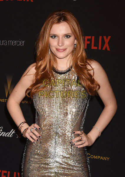 BEVERLY HILLS, CA - JANUARY 10: Actress Bella Thorne attends The Weinstein Company and Netflix Golden Globe Party, presented with DeLeon Tequila, Laura Mercier, Lindt Chocolate, Marie Claire and Hearts On Fire at The Beverly Hilton Hotel on January 10, 2016 in Beverly Hills, California.<br /> CAP/ROT/TM<br /> &copy;TM/ROT/Capital Pictures