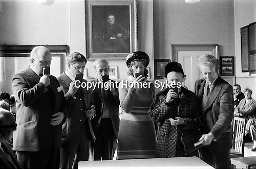 Hungerford Hocktide, Hungerford Berkshire. 1973. Commoners being sworn in at the Commoners Court.<br /> <br /> My ref 24/449/1973